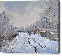 Acrylic Print featuring the painting Snow Scene At Argenteuil by Claude Monet