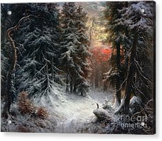 Snow Scene In The Black Forest Acrylic Print by Carl Friedrich Wilhelm Trautschold