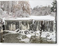 Snow Sleet And Freezing Rain On The Falls Acrylic Print by Stroudwater Falls Photography