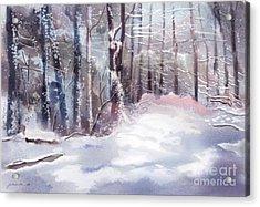 Snow Sparkled Woods Acrylic Print