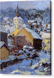 Snow Village Acrylic Print by James Swanson