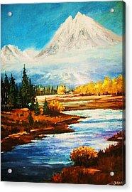Snow White Peaks Acrylic Print by Al Brown