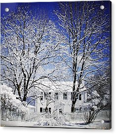 #snow #winter #house #home #trees #tree Acrylic Print