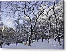 Snowboarders In Central Park Acrylic Print by Madeline Ellis