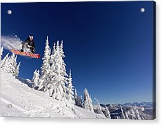 Snowboarding Action At Whitefish Acrylic Print by Chuck Haney