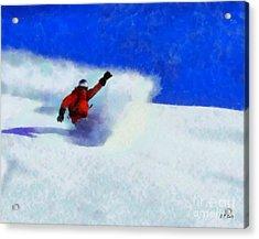 Snowboarding  Acrylic Print by Elizabeth Coats