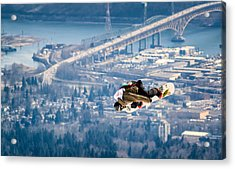 Snowboarding Over The City Acrylic Print by Alexis Birkill