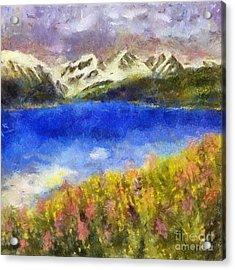 Snowcapped Blue Lake Acrylic Print
