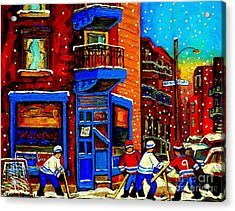 Snowday Hockey Practice Wilenskys Corner Fairmount And Clark Montreal City Scene Carole Spandau Acrylic Print by Carole Spandau