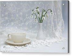Snowdrops At Teatime Acrylic Print by Ann Garrett