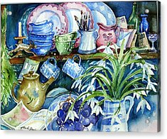 Acrylic Print featuring the painting Snowdrops On A Kitchen Dresser by Trudi Doyle
