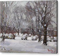 Snowfall In Royal Park Apartments Acrylic Print by Ylli Haruni