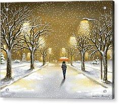 Snowfall Acrylic Print by Veronica Minozzi