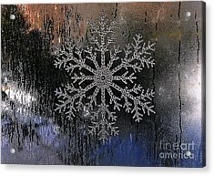 Snowflake On A Night Window Acrylic Print by Elaine Manley