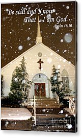 Snowing At The Chapel Acrylic Print by Kathy  White