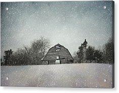 Snowing At The Old Barn Acrylic Print by Jai Johnson