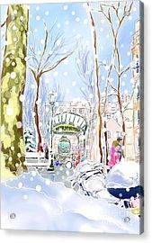Snowing In Montmartre Acrylic Print