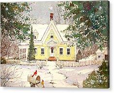 Snowing In Woodstock Acrylic Print by Sherri Crabtree