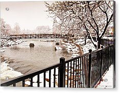 Acrylic Print featuring the photograph Snowing On The Truckee by Janis Knight