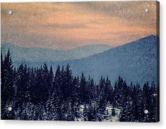 Snowing Sunset Acrylic Print by Melanie Lankford Photography