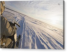 Snowmachiner Following Trail On Frozen Acrylic Print by Kevin Smith