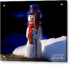 Snowman By George Wood Acrylic Print