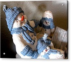 Snowman Family  Trio Acrylic Print