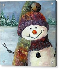 Acrylic Print featuring the painting Snowman I - Christmas Series I by Cheri Wollenberg