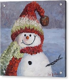 Acrylic Print featuring the painting Snowman II - Christmas Series by Cheri Wollenberg