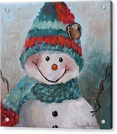 Acrylic Print featuring the painting Snowman IIi - Christmas Series by Cheri Wollenberg
