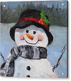 Acrylic Print featuring the painting Snowman Iv - Christmas Series by Cheri Wollenberg