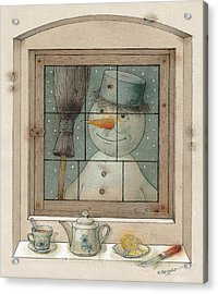 Snowman Acrylic Print by Kestutis Kasparavicius