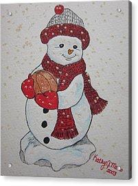 Snowman Playing Basketball Acrylic Print by Kathy Marrs Chandler