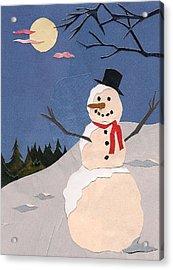 Snowman Acrylic Print by Robin Birrell
