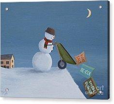 Snowman Survival Strategies Acrylic Print