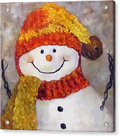 Acrylic Print featuring the painting Snowman V - Christmas Series by Cheri Wollenberg