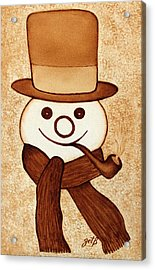 Snowman With Pipe And Topper Original Coffee Painting Acrylic Print by Georgeta  Blanaru