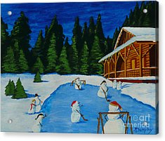 Snowmans Hockey Two Acrylic Print by Anthony Dunphy