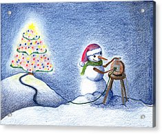 Acrylic Print featuring the drawing Snowman's X'mas by Keiko Katsuta