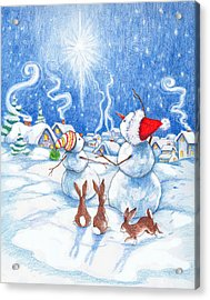 Snowmen And Christmas Star Acrylic Print by Peggy Wilson