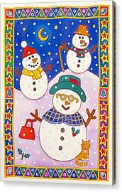 Snowmen In The Snow  Acrylic Print by Cathy Baxter