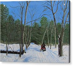 Snowmobile On Trail Acrylic Print