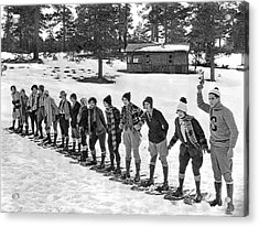 Snowshoe Race In The Mountains Acrylic Print