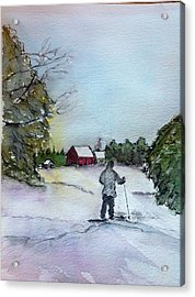 Snowshoeing In Northern Maine Acrylic Print by Peggy Bosse