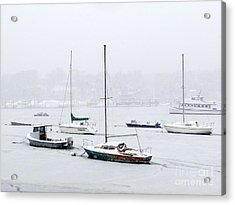 Snowstorm On Harbor Acrylic Print by Ed Weidman