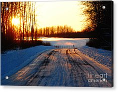 Snowy Anchorage Sunset Acrylic Print by Cynthia Lagoudakis