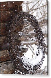 Acrylic Print featuring the photograph Snowy Barbed Wire by Jenessa Rahn