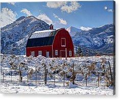 Snowy Barn In The Mountains - Utah Acrylic Print