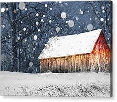 Snowy Barn Acrylic Print