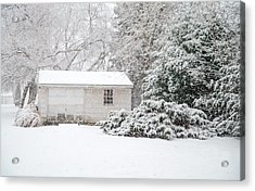 Snowy Barn Acrylic Print by Mary Timman